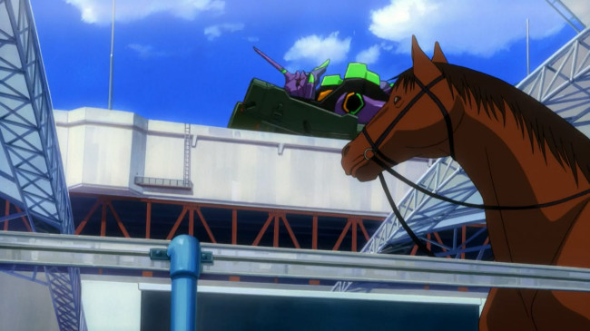 Evangelion-carrera-de-caballos